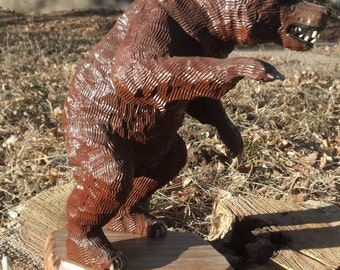Attacking Bear Wood Carving Rustic Home Decor