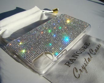 iPhone X Case Clear Diamond Rhinestone Crystals on Transparent Clear iPhone X Case. Velvet Pouch Included,
