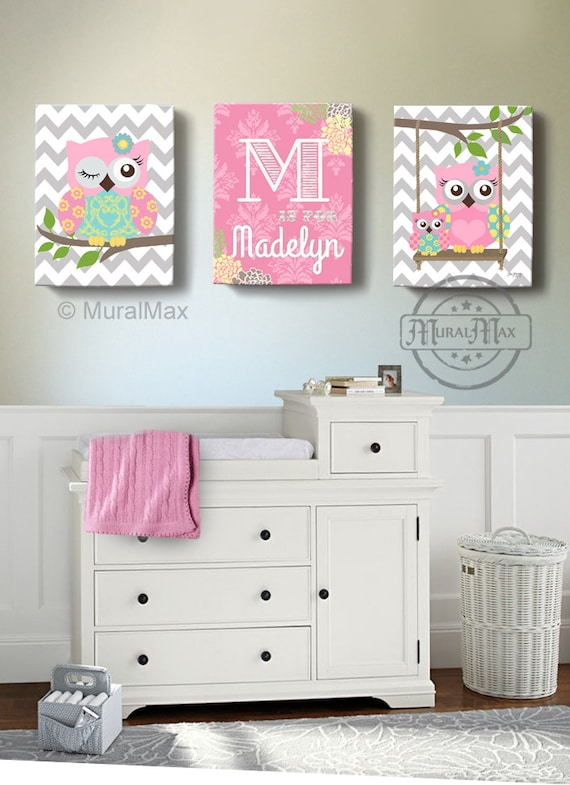 Girls Wall Art Owl Canvas Art Baby Nursery Owl Canvas Set