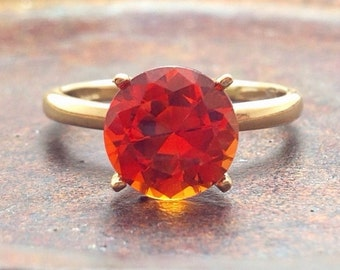 Orange Sapphire and Gold Ring, Engagement Ring, Promise Ring, Wedding Ring