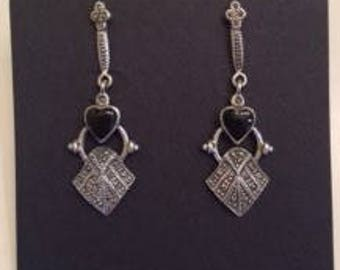 Sterling silver and Marcasite earrings with black onyx heart