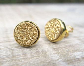 Gold druzy earrings, druzy studs, 18k gold plated earrings, gold bridal earrings, bridesmaid gift, raw stone earrings, gold wedding, uk