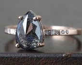 Natural Black Rose Cut Diamond Ring with Pave Band