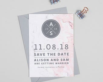 Marble Monogram Wedding Save The Date cards