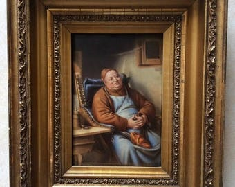 Sale Antique Hand Painted KPM Porcelain Plaque Portrait of a Seated Monk Signed Art Painting By Wagner Period Wood Frame