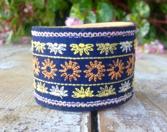 CUSTOM HANDSTAMPED CUFF - bracelet - personalized by Wildflower Cuffs and Stuff - blue embroidered design cuff