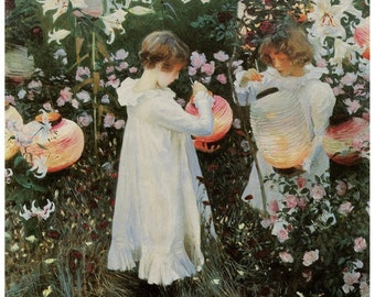 Hand-cut wooden jigsaw puzzle. GIRLS with LANTERNS in GARDEN. John Singer Sargent. Wood, collectible. Bella Puzzles.