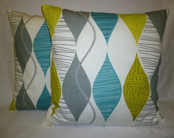 "PAIR Teal Blue Gray Yellow Pillow Cushion Covers 4 CHOICES Mix Match Designer Throws Slips 16"" (40cm)"