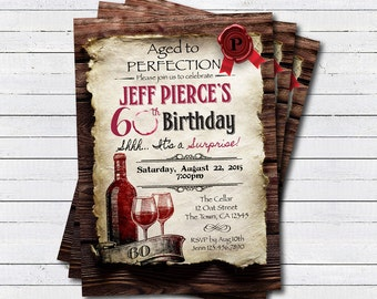 Surprise 60th birthday invitation. Cheers to 30 40 50 60 year. Aged to perfection wine birthday, dinner, printable digital invite. AB125