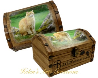 Rustic Pet Memorial Box, Pet Cremation Memorial, Pet Keepsake Box, Cat Urn, Engraved Wood Urn,  Photo Keepsake Box, Rustic Pet Chest