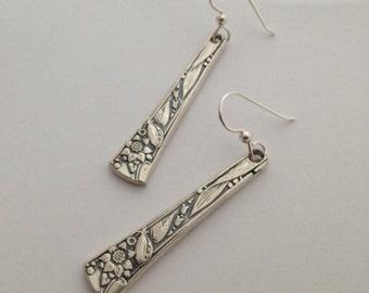 Silver Dangle Earrings, Chateau, 1934, Vintage Silverplate, Spoon Jewelry