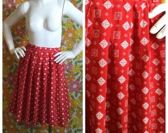 60s Vintage Bandana Print Red Pleated Skirt Small Medium