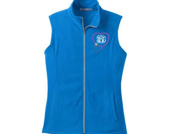 Carter's Girls 3 Piece Pink Fleece Vest with Embroidered Heart, Pointelle  Bodysuit and Navy/