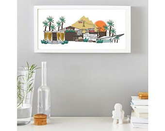 Palm Springs Skyline Illustration, Colorful Mid Century Modern Architecture Print, Vintage Retro California Style