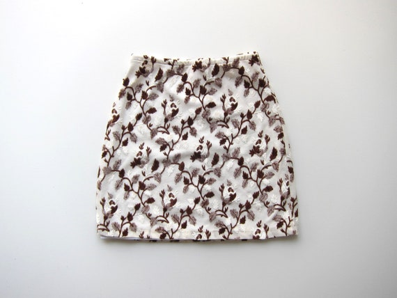 90s Express Floral Mini Skirt White Brown Revival Skirt High Waist Preppy Velvet MiniSkirt Vintage Flirty Skirt Womens XS