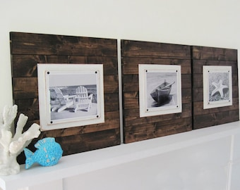 Set of 3 Plank Frames for 8x10 Rustic Farmhouse Decor Dark Walnut Stain Large Plank Frames