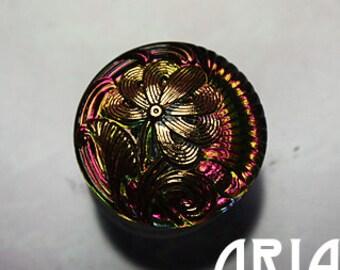 CZECH GLASS BUTTON: 18mm Handpainted Czech Glass Nouveau Flower Button, Pendant, Cabochon (1)