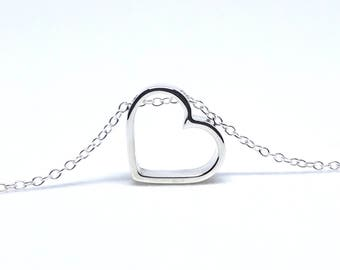 Floating Heart Necklace, Sweetheart Sterling Silver Necklace 925, Silver Jewellery, Romantic Gift, Floating Open Heart