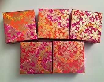 5 SMALL GIFT BOXES 4x4, Party favors, Indian weddings,Mehndi & Sangeet,Jewelry box,Diwali,Birthday, Mithai Boxes,Christmas Gift Boxes