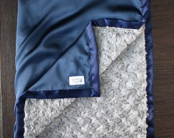 Minky Blanket, Baby Boy, Baby blanket, Navy and Grey, Satin Blanket, Silk Blanket, Plush Minky, Rose minky, Cowboys, Silver and Blue