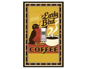 0189X - Early Bird Cup of Coffee light switch plate cover - mrs butler switchplates - choose sizes / prices from drop down box
