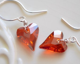 Red Heart Earrings, Crystal, Genuine Swarovski Beads, Valentine's Day, Deep Red Magma, Drop, Sterling Silver Jewelry