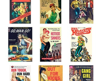 Pulp Art Stickers Theme 'Best of 9' Set - JUVENILE DELINQUENCY