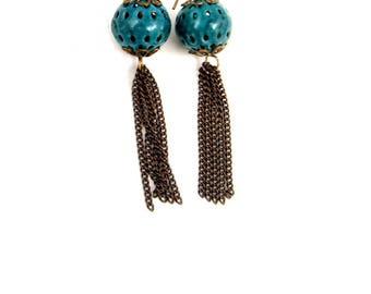 Blue Earrings, Long Earrings, Fringe Earrings, Enamel Earrings, Teal Earrings, Dangle Earrings, Antique Brass Earrings, Shoulder Dusters,