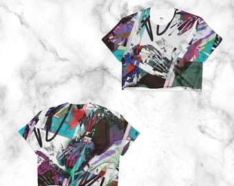 electro,party,enhanced, glitch,cyberpunk,retrofuture,Crop Top, cut off t-shirt