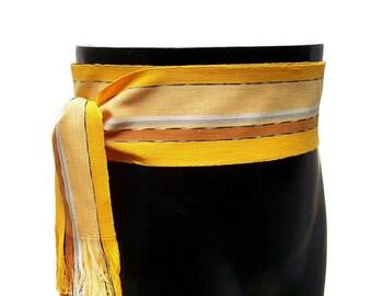 Striped Gold Yellow Sash, SA68 - Pirate Belt - Gypsy Clothing - Fabric Sash Belt - Guatemalan Textiles - Woven Belt - Ethnic Sash