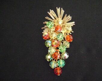 Vintage Goldtone Crystal Beads Brooch