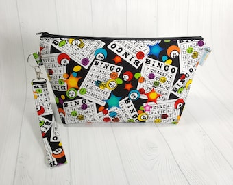 Small Knitting Project Bag, Bingo theme fabric, Zippered Wedge Bag, Zipper Knitting Bag, Cosmetic Bag WS0076