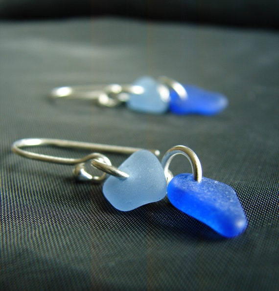 Two Tides sea glass earrings in cornflower and cobalt blue