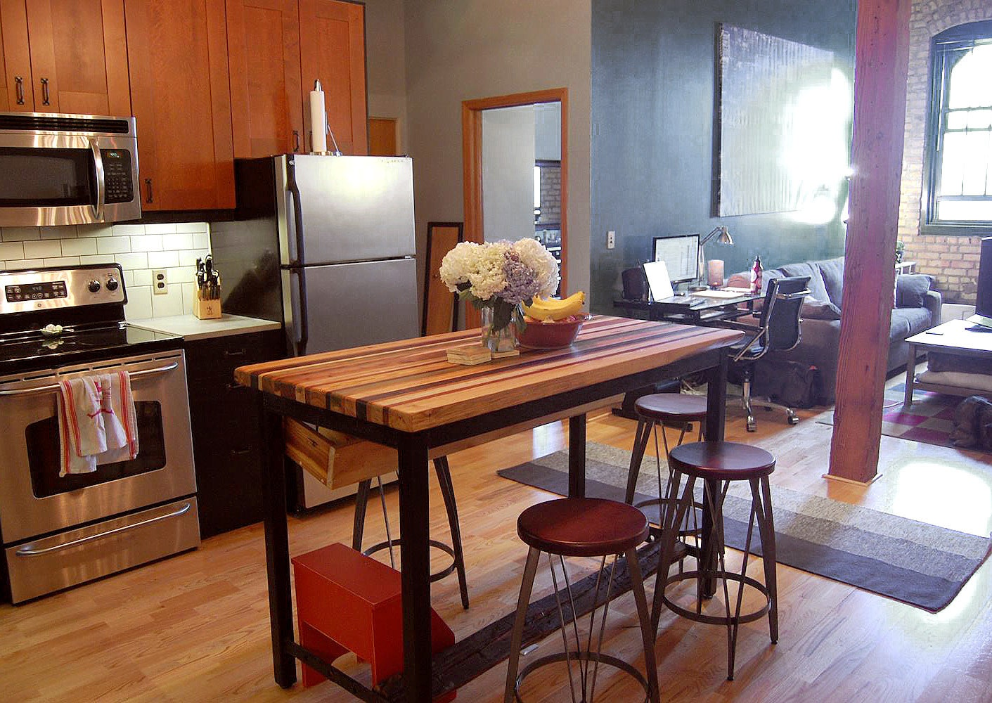 Butcher block kitchen island with industrial base and wine zoom workwithnaturefo