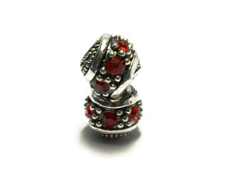Red Rhinestone Spacer Bead  For European Style Charm Bracelet - Silver Plated