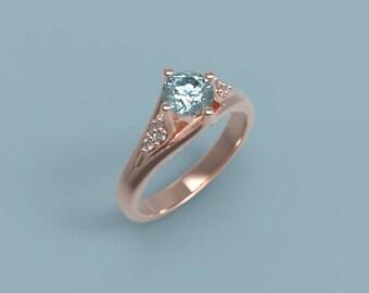 14k Aquamarine Engagement Ring Rose Gold Aquamarine Ring Aquamarine Halo Ring Aquamarine Diamonds March Birthstone