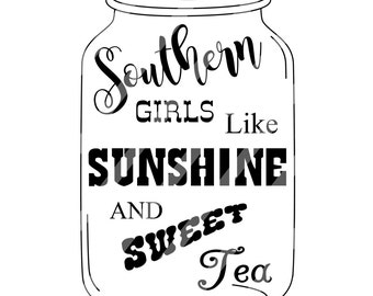 Mason Jar Southern Sunshine Sweet Tea Digital Download for iron-ons, heat transfer, Scrapbooking, Cards, Tags, DIY, YOU PRINT