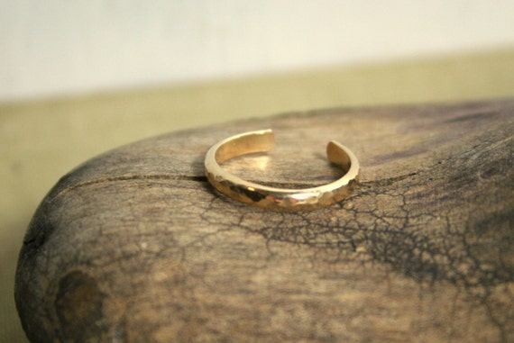 Hammered 14K Yellow Gold Fill Toe Ring- Wide Half Round -2.5mm