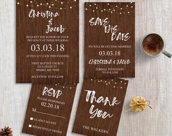 Rustic Wedding Invitation... RSVP Card... Thank You Card... Save the Date Card... Wedding Package... Invitation Set... 109