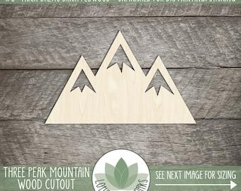 Wood Mountain, Unfinished Wood Mountain Laser Cut Shape, DIY Craft Supply, Many Size Options, Blank Wood Shapes