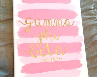 Pink & Gold Striped Sorority Canvas