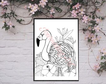 Digital Coloring page flamingo pdf printable