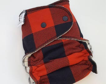 CUSTOM Cloth Diaper - Red Buffalo Plaid -Buffalo Plaid Baby,Red Plaid Baby,Fitted,Windpro,AI2,Hybrid Diaper,Bamboo Diaper,One Size Diaper