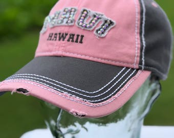 Light Pink/Grey Baseball MAUI hat!  Designed, embroidered, and blinged with Swarovski crystals here in Maui!