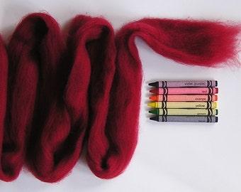 CORRIEDALE WOOL ROVING / Dark Cherry Red 1 ounce / corriedale felting wool for needle felting, wet felting, spinning yarn, weaving, tapestry