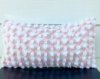 BABY PINK LATTICE vintage chenille pillow cover, cottage chic cushion cover, shabby pillow case, pink pillow sham, textured pillow