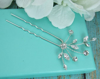 Swarovski crystal wedding hair pin, bridal hair accessories, rhinestone hairpin, crystal bridal hair pearl, bridal hairpins, Layla Hairpin