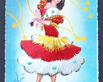 Spanish Flamenco Dancer postcard with embroidered detail entitle Bailes Andaluces.