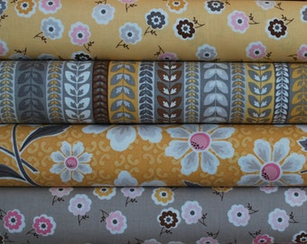 SALE Fat Quarter Bundle of Daisy Cottage in Yellow and Gray by Lori Holt of Bee in My Bonnet for Riley Blake
