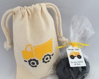 Filled Construction Favor Bags: Dump Truck Design with Tire Soap Favor, Construction Goody Bag, Treat Bag